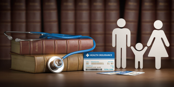 Medical health insurance concept. Family with stethoscope and plastic card.