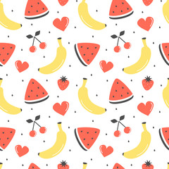 cute fresh summer fruits seamless vector pattern background illustration with bananas, cherries, strawberries and watermelon slice