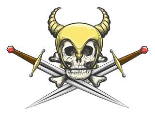 Viking Skull in Helmet with Swords