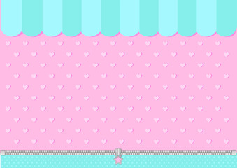 Estores personalizados infantiles con tu foto Pink and mint blue green background with little hearts. Candy shop backdrop. Decoration  banner themed Lol surprise doll girlish style. Invitation card template. Horizontal and vertical orientation