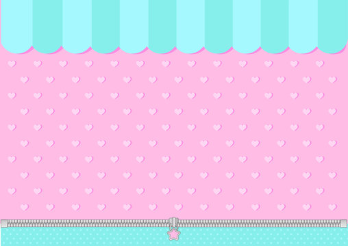 Pink and mint blue green background with little hearts. Candy shop backdrop. Decoration  banner themed Lol surprise doll girlish style. Invitation card template. Horizontal and vertical orientation