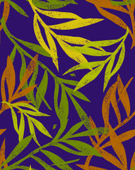 Seamless botanical pattern made of branches and leaves. Engraving texture. Background can be used on fabric or wrapping paper