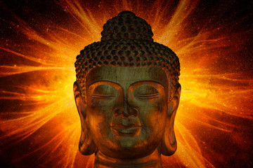Golden head of Buddha