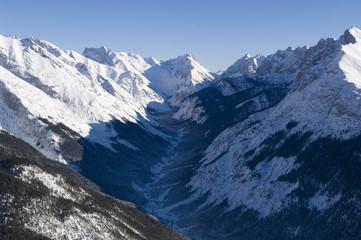 flying over mountain karwendel, tyrol, austria