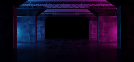 Neon Glowing Purple Pink Blue Retro Sci Fi Futuristic Modern Empty Grunge Concrete Reflective Stage Construction Tunnel Corridor Dark Room Hall 3D Rendering
