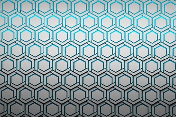 Abstract background with structured white hexagons. Hexagon shapes on see through blue background. 3d illustration.