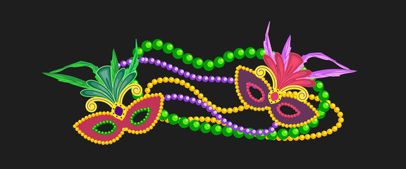 Mardi Gras design element, colorful symbols