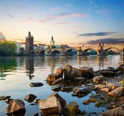 Fototapete - Stones on Vltava river