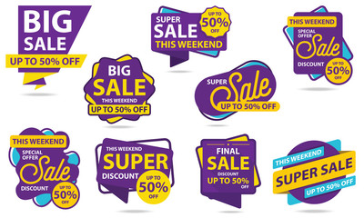 Big Sale Sticker Template. Discount Up to 50%. Vector Template Sticker Sale Promotion.