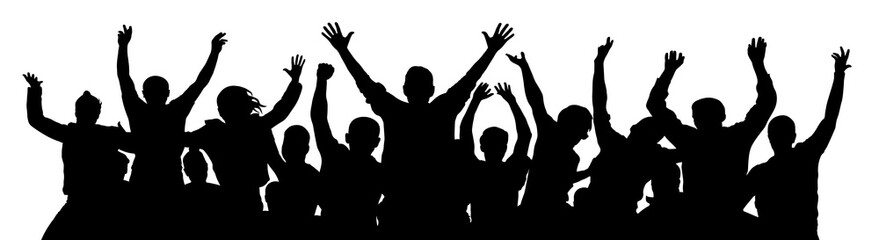 Crowd of fun people. A young group of people raised their hands up. Silhouette of vecton illustration