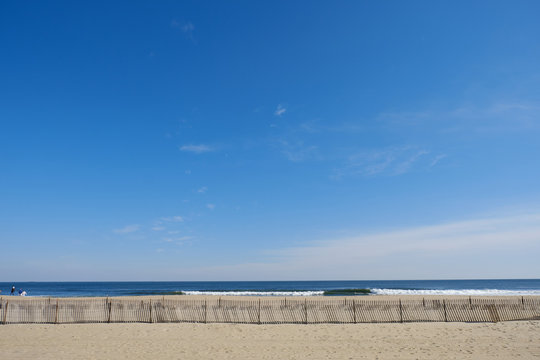 Storm fence on the beach in Asbury Park NJ