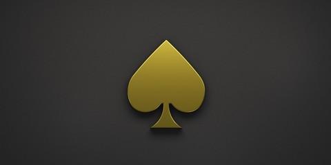 Gold Spike Poker Card Symbol. 3D Render Illustration