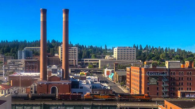Power plant in downtown Spokane Washington