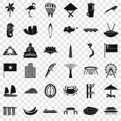 Asian country icons set. Simple style of 36 asian countries vector icons for web for any design
