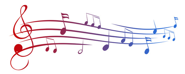 Music notes wave, group musical notes – for stock vector