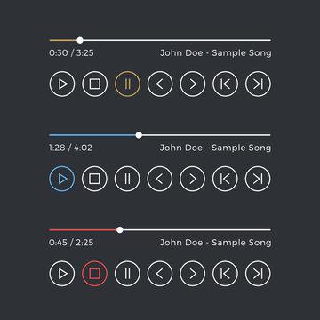 Audio player. Media player UI. Dark skin, black theme. Line icons set, interface elements. Vector icons