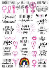 hand drawn feminist signs and quotes, vector set