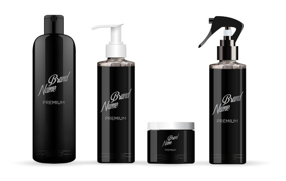 Realistic black cosmetic set mockup with white and black lid. With a label.