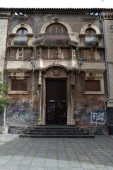 Old, destroyed, abandoned building in Catania, Sicily, Italy
