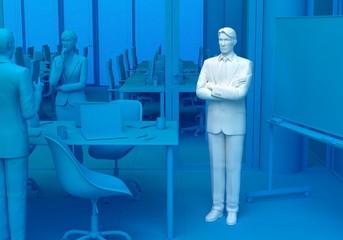 会議室で考えるビジネスマン