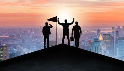 Fotobehang Superheroes Businessmen in achievement and teamwork concept