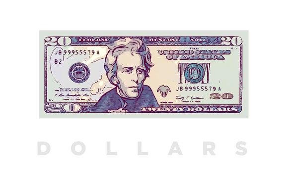 20 Dollars money comics paper banknotes of USA - vector business art illustration