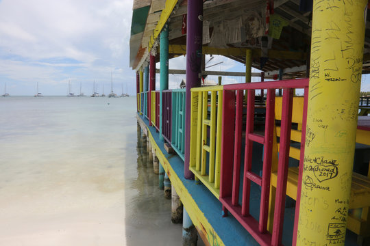 Colorful deck on the island of Anegada in the British Virgin Islands