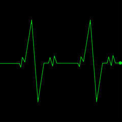 Cardio monitoring system isolated on black background. Heart pulse, signal. Heartbeat, electrocardiogram line. Cardiology medical chart. Vector flat illustration.