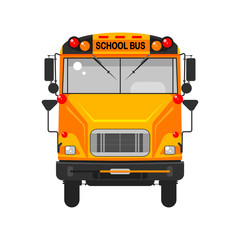Yellow school bus in front view isolated on white background. Education, teaching concept. Vector flat cartoon design