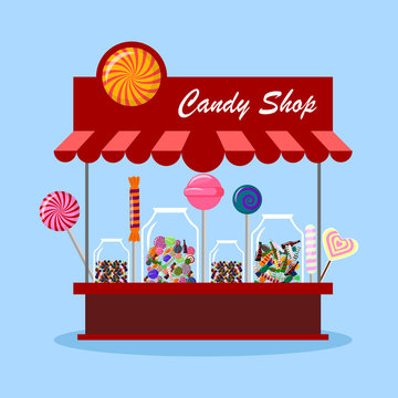 Candy shop, store in city. Sweet candies in glass jar isolated on background. Lollipop, chocolate bar. Vector cartoon design