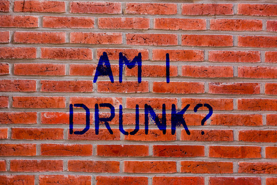 Text sign showing Am I Drunk. Conceptual photo Doubtful if my alcohol levels are high addiction alcoholism Brick Wall art like Graffiti motivational call written on the wall