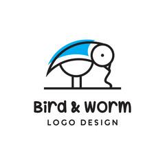 monoline bird and worm logo icon vector template