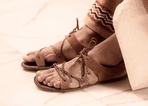 ancient leather sandals of roman man