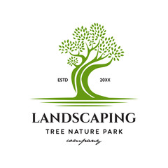 landscaping nature tree park logo icon vector template