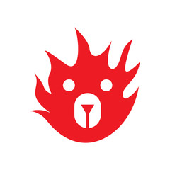 fire bear face logo icon vector template