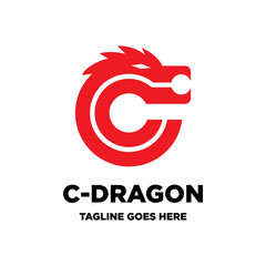 letter C initial and dragon logo icon vector template