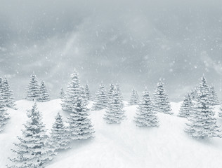 Winter landscape, tranquil pine forest and falling snow  3d render