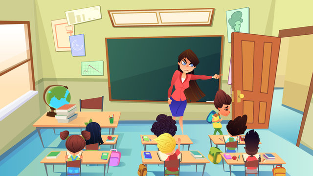 Teacher Excluding Pupil from Class Cartoon Vector