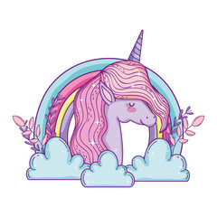 beautiful little unicorn in the clouds and rainbow