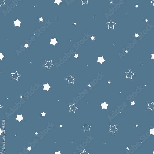 Cute Seamless Vintage Blue Pattern With Cartoon Outlined And