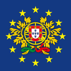 Portugal coat of arms on the European Union flag, vector illustration