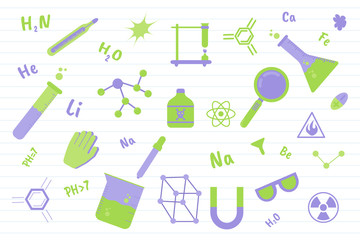 chemistry science education with various objects and paper line background - vector illustration
