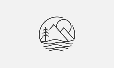 lake logo design, mountain, vector