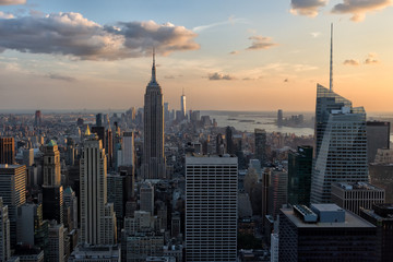 Skyline of New York City in the evening sun