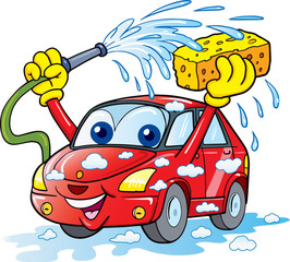car wash with sponge and hose - Vector