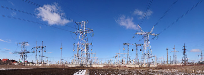 Panoramic image of high voltage substation.