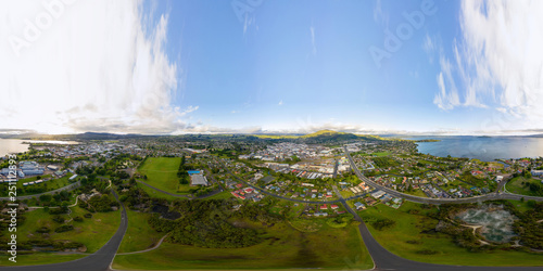 Rotorua New Zealand, Aerial 360 VR view Panorama