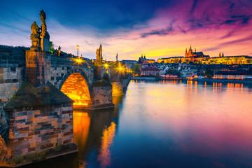 Majestic medieval stone Charles bridge at sunset, Prague, Czech Republic