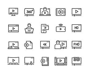 Online player line icons. Video streaming online tutorial digital presentation podcast screen, online video player vector symbols set