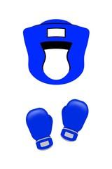 青いボクシングのメットとグローブ